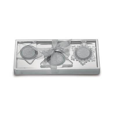 Set van 3 glazen kaarshouders