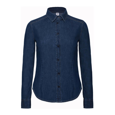 Ladies` Denim Shirt LS - SWD86