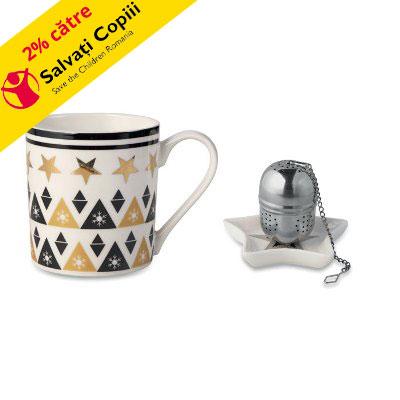 Set cadou de cana, farfurie si infuzor ceai
