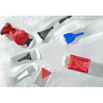 Zwarte plastic ijskrabber met fleece gevoerde want