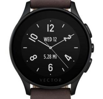 Ceas Smartwatch Vector Luna, Negru, Curea piele maro