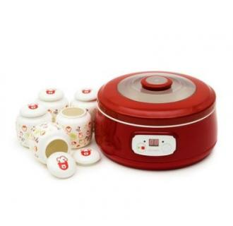 Aparat preparat iaurt Oursson FE1502D/RD, 20 W, 1 l, 5 recipiente ceramica, LCD, Functie fermentare, Timer, Rosu