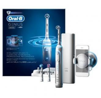 Periuta de dinti electrica Oral-B Genius 8000, SmartRing, Alb