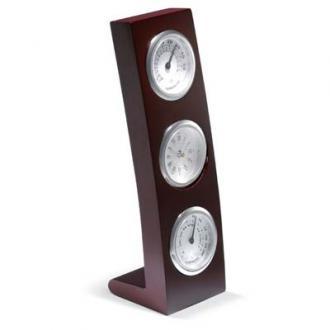 Ceas de birou Classic din lemn cu termometru si hidrometru