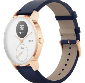 Ceas smartwatch Nokia Steel HR 36mm, Carcasa Rose Gold, Blue Leather + Grey Silicone Band