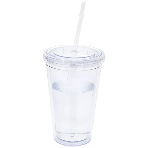 Pahar termoizolant transparent Milkshaker cu pai