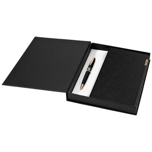 Notitieboek geschenkset met goud draaimechanisme balpen