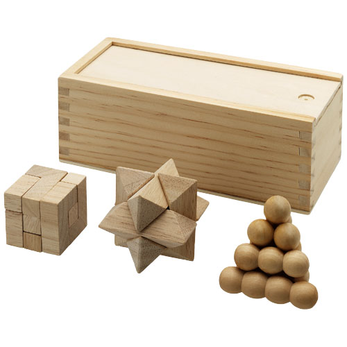 3 piece wooden brainteasers