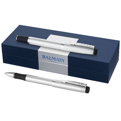 Gift set met roller-ball pen en balpen met soft touch grip
