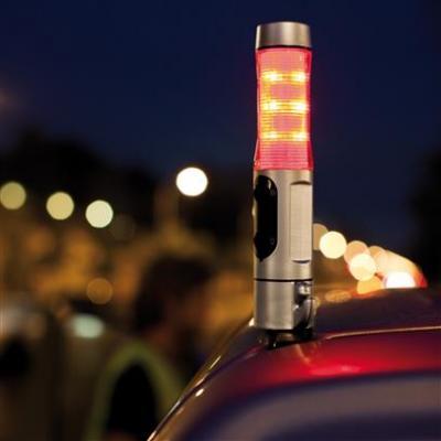Veiligheidszaklamp met noodhamer