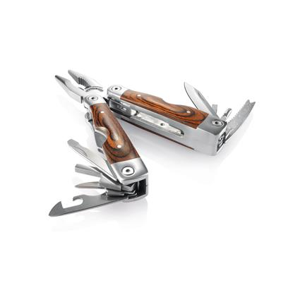 Multitool with wooden grip and bitset